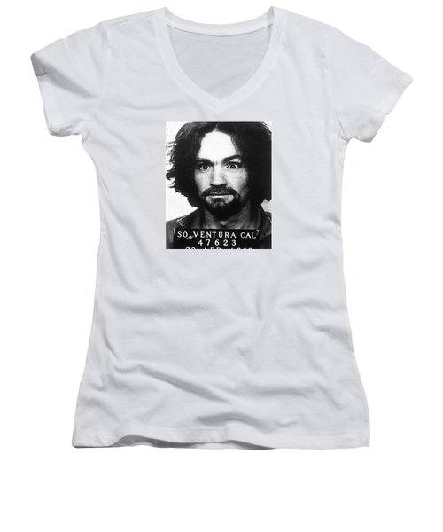 Charles Manson Mug Shot 1969 Vertical  Women's V-Neck (Athletic Fit)