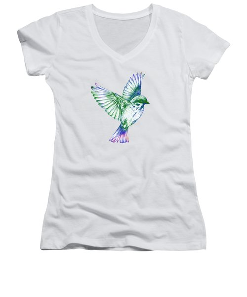 Textured Bird With Changeable Background Color Women's V-Neck T-Shirt (Junior Cut) by Sebastien Coell