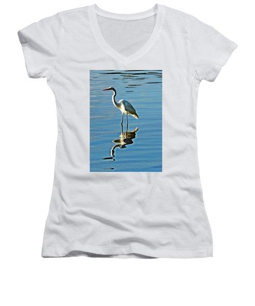 The Egret Women's V-Neck T-Shirt