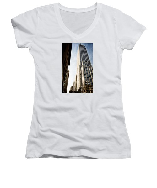 Women's V-Neck T-Shirt (Junior Cut) featuring the photograph The Empire State Building by Sabine Edrissi