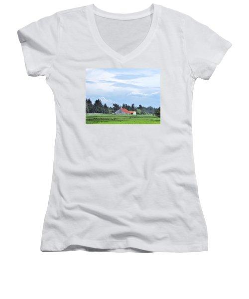 The Farm Women's V-Neck T-Shirt (Junior Cut) by Marilyn Diaz