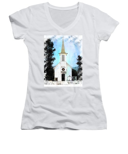 The Little White Church In Elbe Women's V-Neck T-Shirt