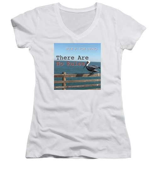 There Are No Rules Women's V-Neck T-Shirt (Junior Cut) by Mark David Gerson