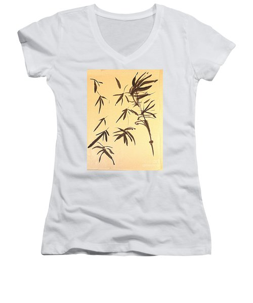 Women's V-Neck T-Shirt (Junior Cut) featuring the painting Thinking Of Wind 3 by Nancy Kane Chapman