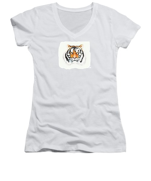 Women's V-Neck T-Shirt (Junior Cut) featuring the drawing Tiger by Brian Gibbs