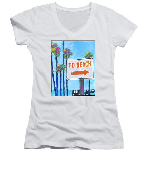 To The Beach Women's V-Neck (Athletic Fit)