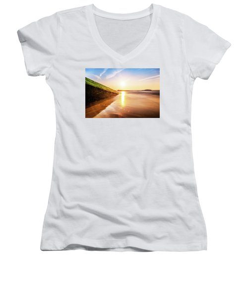 Women's V-Neck T-Shirt (Junior Cut) featuring the photograph Touching The Golden Cloud by Thierry Bouriat