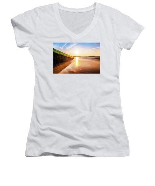 Touching The Golden Cloud Women's V-Neck T-Shirt (Junior Cut) by Thierry Bouriat