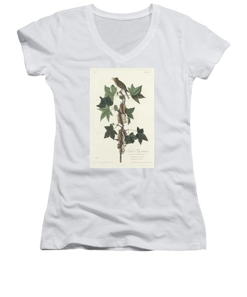 Traill's Flycatcher Women's V-Neck T-Shirt (Junior Cut)