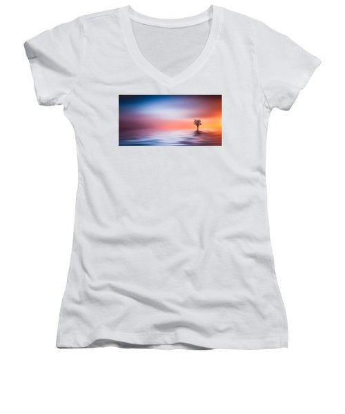 Tree Women's V-Neck T-Shirt (Junior Cut) by Bess Hamiti