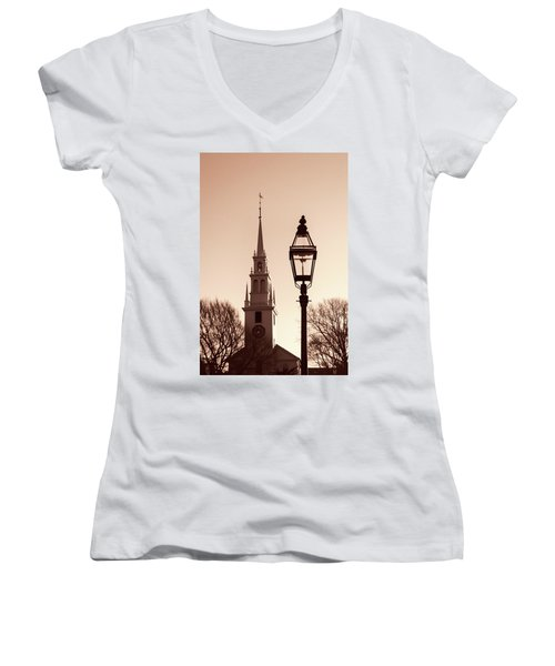 Women's V-Neck T-Shirt (Junior Cut) featuring the photograph Trinity Church Newport With Lamp by Nancy De Flon
