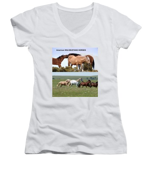 Twin Photos Awesome North American Mustangs Horses Cowboys Photography See On Posters Pillows Curtai Women's V-Neck T-Shirt (Junior Cut) by Navin Joshi