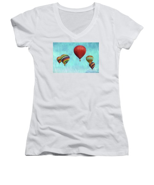 Women's V-Neck T-Shirt (Junior Cut) featuring the photograph Up Up And Away 2 by Benanne Stiens