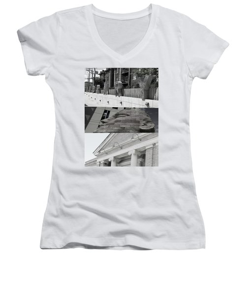 Women's V-Neck T-Shirt (Junior Cut) featuring the photograph Uptown Library by Susan Stone