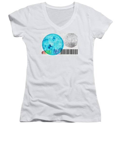 Urban Graffiti - Binary Evolution Women's V-Neck T-Shirt (Junior Cut) by Serge Averbukh