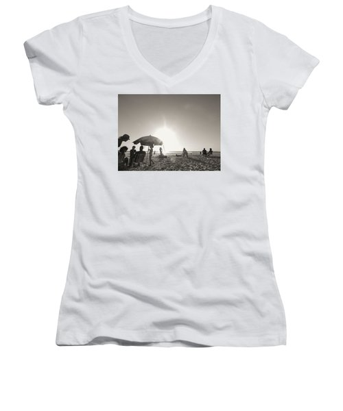 Women's V-Neck T-Shirt (Junior Cut) featuring the photograph Vamos A La Playa by Beto Machado