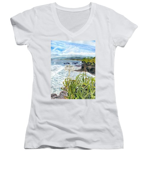 Women's V-Neck T-Shirt (Junior Cut) featuring the painting View From Tanah Lot Bali Indonesia by Melly Terpening