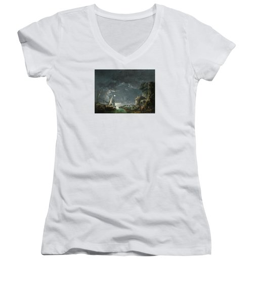 Women's V-Neck T-Shirt (Junior Cut) featuring the painting View Of A Moonlit Mediterranean Harbor by Carlo Bonavia