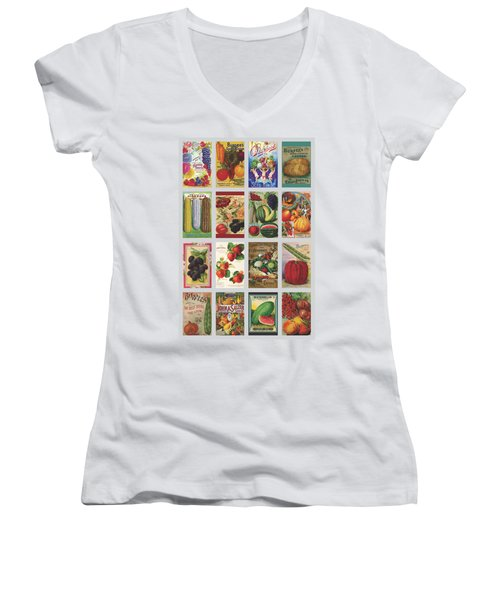 Vintage Farm Seed Packs Women's V-Neck T-Shirt (Junior Cut) by Debbie Karnes