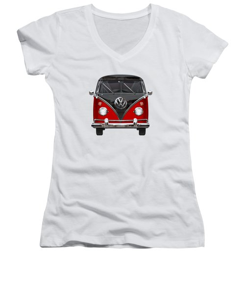 Volkswagen Type 2 - Red And Black Volkswagen T 1 Samba Bus On White  Women's V-Neck T-Shirt (Junior Cut) by Serge Averbukh