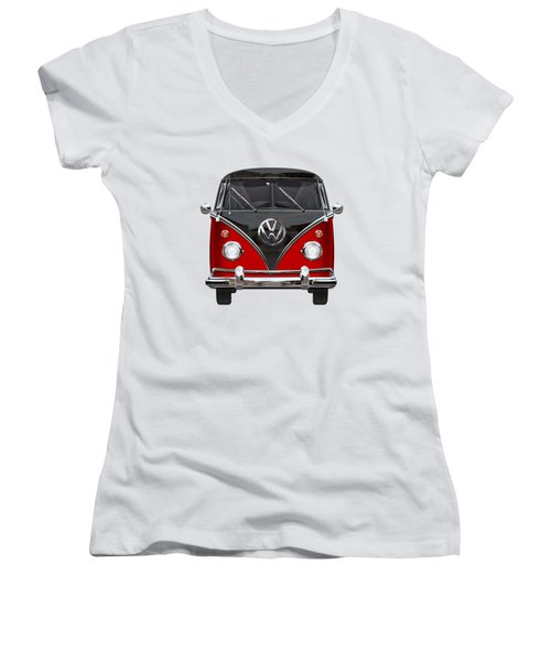 Volkswagen Type 2 - Red And Black Volkswagen T 1 Samba Bus On White  Women's V-Neck