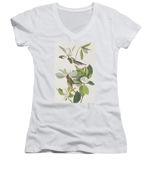 Warbling Flycatcher Women's V-Neck T-Shirt (Junior Cut)