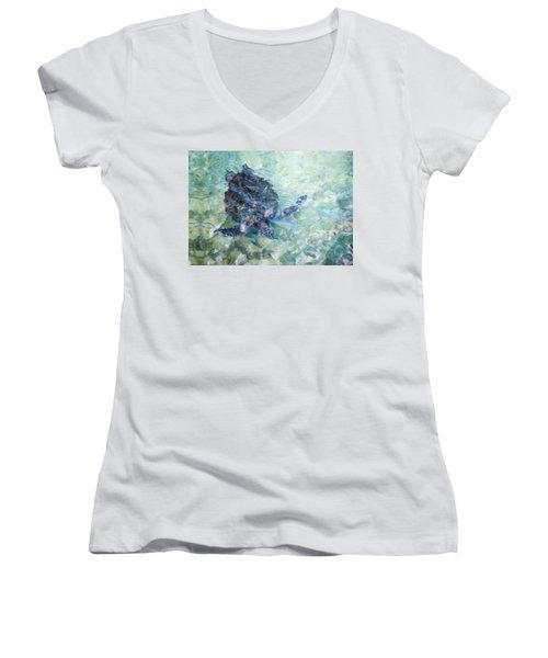 Watercolor Turtle Women's V-Neck