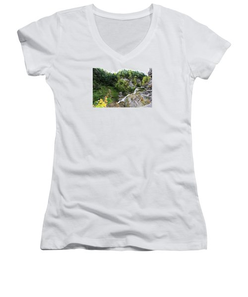 Women's V-Neck T-Shirt (Junior Cut) featuring the photograph Waterfall At Robert Treman State Park II by Trina  Ansel