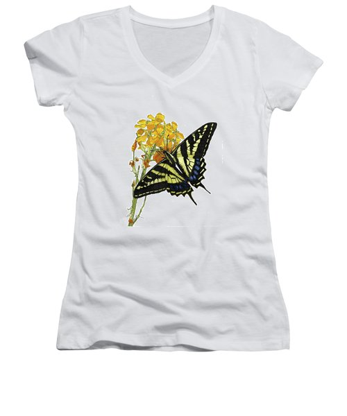 Western Tiger Swallowtail On A Western Wallflower Women's V-Neck (Athletic Fit)