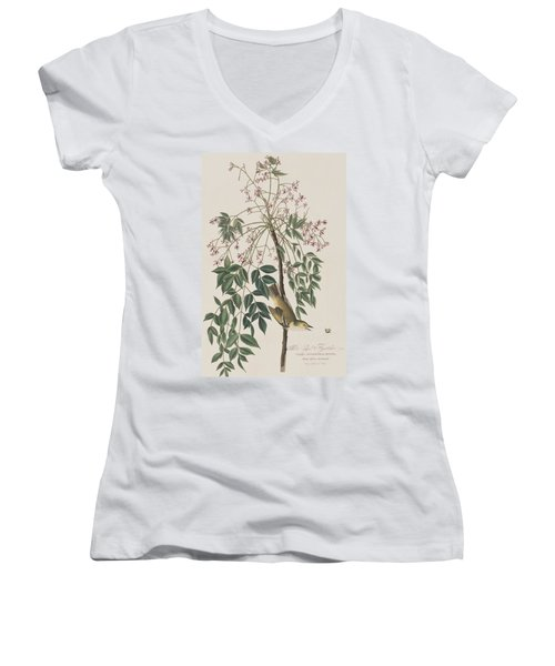 White-eyed Flycatcher Women's V-Neck T-Shirt (Junior Cut)