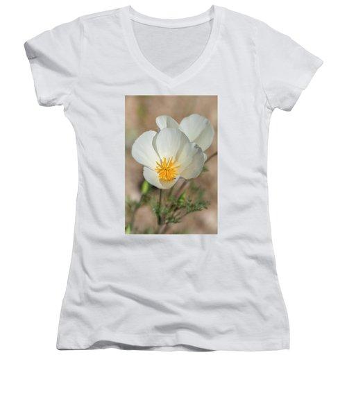 Women's V-Neck T-Shirt (Junior Cut) featuring the photograph White Poppies  by Saija Lehtonen