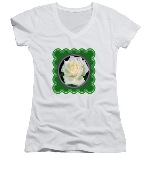 White Rose Flower Floral Posters Photography And Graphic Fusion Art Navinjoshi Fineartamerica Pixels Women's V-Neck (Athletic Fit)