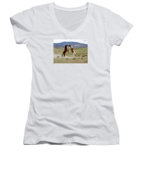 Wild Mustang Stallions Sparring Women's V-Neck