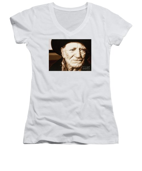 Women's V-Neck T-Shirt (Junior Cut) featuring the painting Willie Nelson by Ashley Price