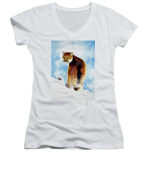Winter Cougar Women's V-Neck T-Shirt (Junior Cut) by Jimmy Smith