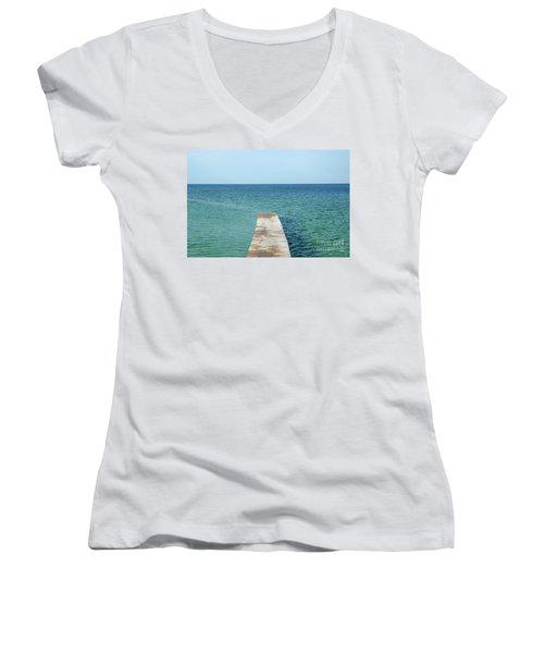 Women's V-Neck T-Shirt (Junior Cut) featuring the photograph Wooden Bath Pier by Kennerth and Birgitta Kullman