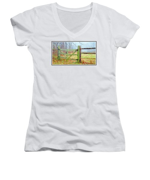 Wooden Fence On A Foggy Morning Women's V-Neck T-Shirt