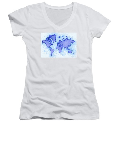 World Map Airy In Blue And White Women's V-Neck T-Shirt (Junior Cut) by Eleven Corners