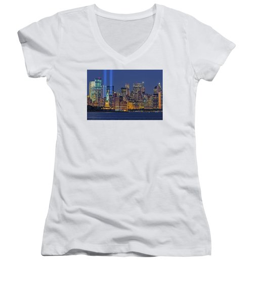 Women's V-Neck T-Shirt (Junior Cut) featuring the photograph World Trade Center Wtc Tribute In Light Memorial II by Susan Candelario