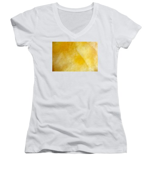 Women's V-Neck T-Shirt (Junior Cut) featuring the photograph Yellow by Corinne Rhode