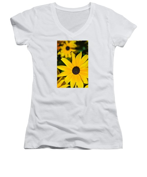 Women's V-Neck T-Shirt (Junior Cut) featuring the photograph Yellow Flowers by Bob Pardue