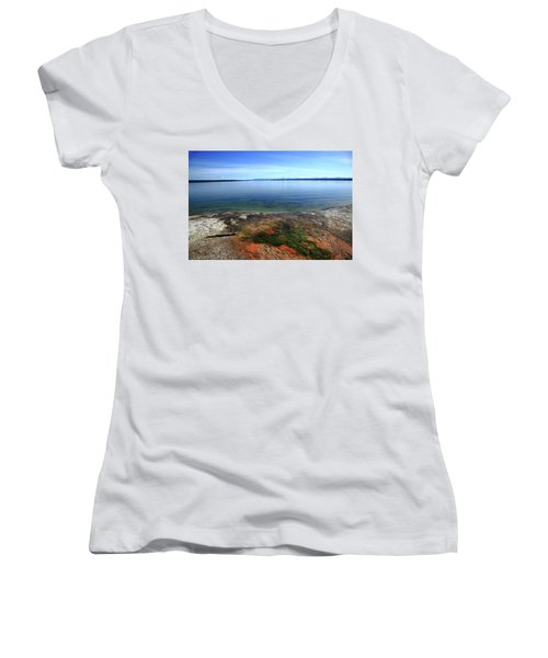 Women's V-Neck T-Shirt (Junior Cut) featuring the photograph Yellowstone Lake Colors by Frank Romeo