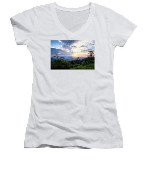 Yin And Yang Women's V-Neck T-Shirt (Junior Cut) by Deborah Scannell