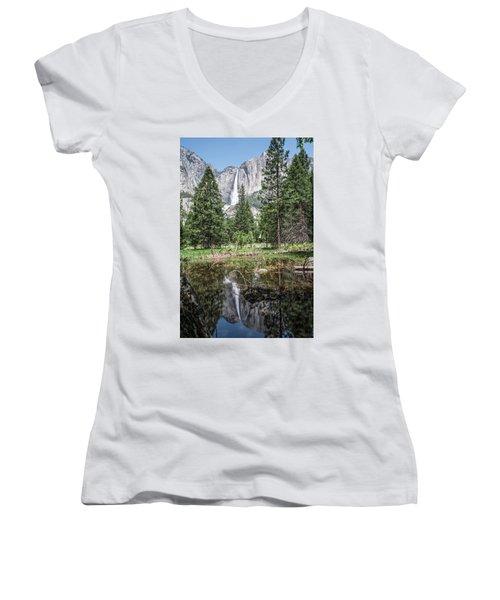 Yosemite View 16 Women's V-Neck T-Shirt (Junior Cut) by Ryan Weddle