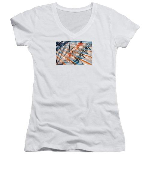 Zig Zag Shadows On Train Station Steps Women's V-Neck T-Shirt
