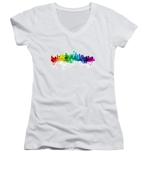 Seattle Washington Skyline Women's V-Neck T-Shirt (Junior Cut) by Michael Tompsett