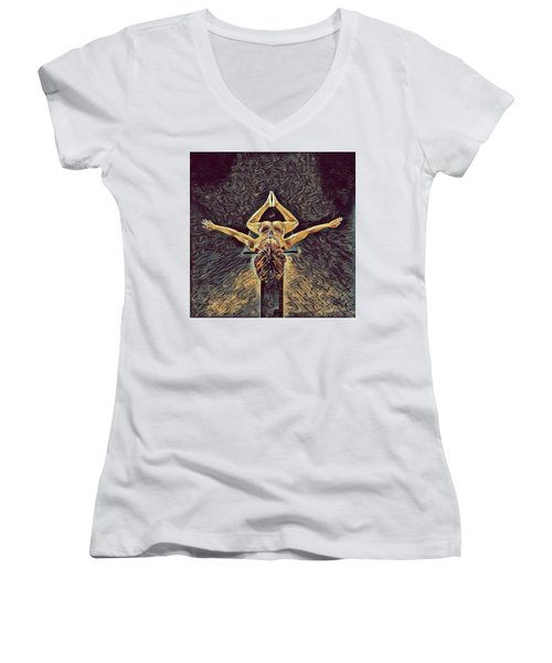 1038s-zac Dancer Flying On Pedestal Nudes In The Style Of Antonio Bravo  Women's V-Neck T-Shirt