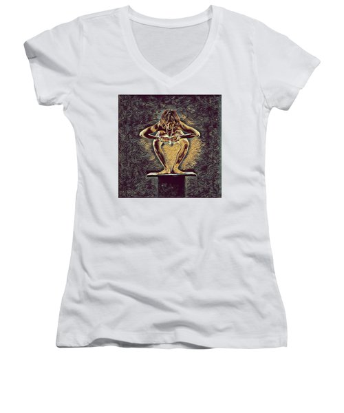 1083s-zac Dancer Squatting On Pedestal With Amulet Nudes In The Style Of Antonio Bravo  Women's V-Neck
