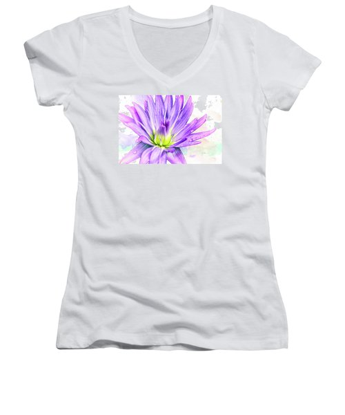 10889 Purple Lily Women's V-Neck T-Shirt