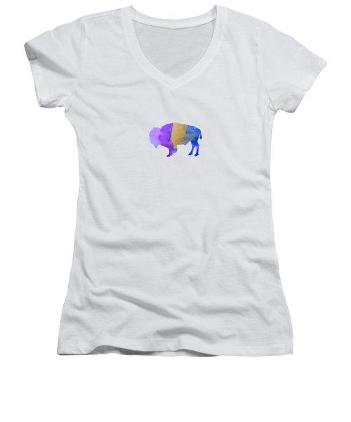 Bison Women's V-Neck T-Shirt (Junior Cut)